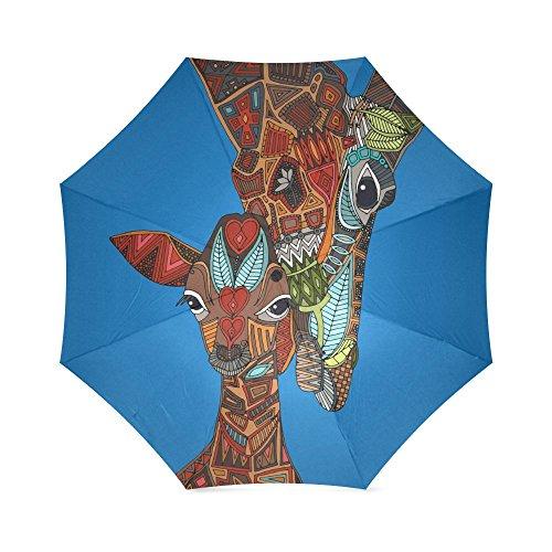 Hipster Funny Cute Giraffe Folding Windproof outdoor Travel Umbrella for Women