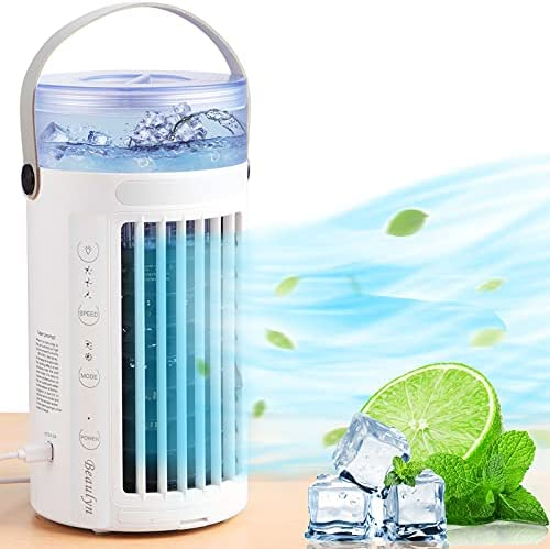 Portable Air Conditioner Quiet Fan, Personal Mini Evaporative Cooler Fan with 2 Fans, 8 Colors LED Light and 3 Speeds, Small Desktop Cooling Humidifier Fan for Bedroom, Outdoor…
