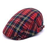 #3: Soultopxin Men Adjustable newsboy Cap Unisex Red Plaid Cotton Warm Flat Hat
