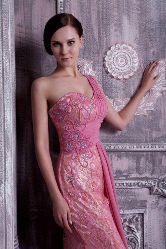 Chiffon Schulter GEORGE ein elegantes Rosa Spitze und Cocktailkleid Prinzessin BRIDE Bw0pwq1
