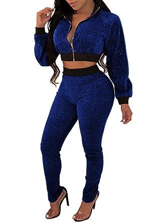 ff3454bad4 Remelon Women Deep V Neck Long Sleeve Sparkly Glitter Crop Top Zipper  Jacket Pants Set 2