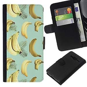 KLONGSHOP // Tirón de la caja Cartera de cuero con ranuras para tarjetas - Plátano Teal Amarillo Fruta Patrón Tropical - Samsung Galaxy Core Prime //