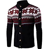 jeansian Men's Retro Jacquard Button Down Sweater Knitted Cardigan 88G4