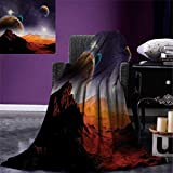 Galaxy Super Soft Lightweight Blanket Solar Sky Nebula Orbit Comet Horizon System Earth and Cosmos Fantasy Image Oversized Travel Throw Cover Blanket 90''x70'' Purple Dark Orange