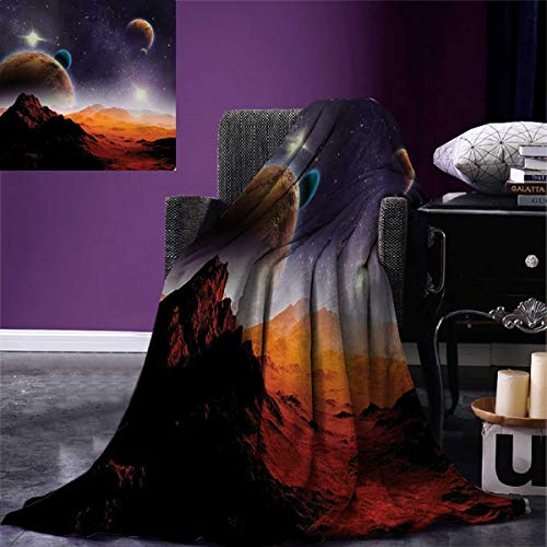 Galaxy Super Soft Lightweight Blanket Solar Sky Nebula Orbit Comet Horizon System Earth and Cosmos Fantasy Image Oversized Travel Throw Cover Blanket 90''x70'' Purple Dark Orange by