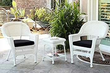 jeco 3pc white wicker chair and end table set in white with black chair cushion