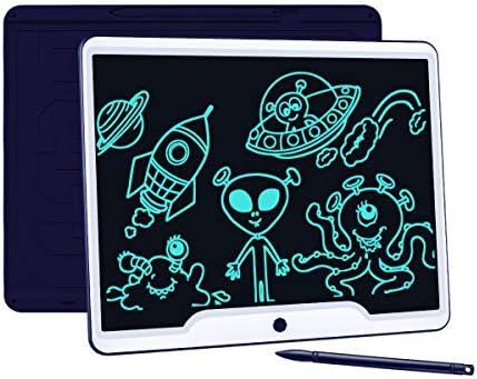 Upgrow LCD Schreibtafel 15 Zoll, Helle Schrift mit Anti-Clearance Funktion, großer Augenschutz-Bildschirm, Papierlos LCD Writing Tablet Mahltafel für Schreiben Malen Notizen (Dunkelblau)