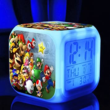 Super Mario Bros 7 colores Cambio LED de alarma digital reloj juego Cartoon noche coloridos juguetes para niños (estilo 1): Amazon.es: Hogar