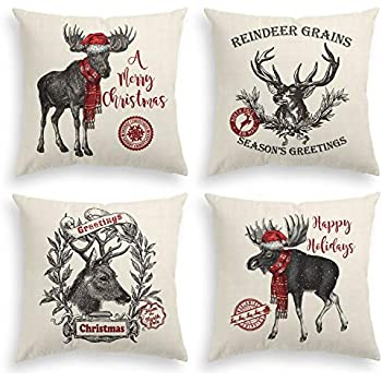 AVOIN Christmas Reindeer Throw Pillow Cover, 18 x 18 Inch Winter Holiday Rustic Linen Cushion Case for Sofa Couch Set of 4