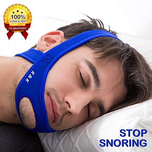 Anti Snoring Chin Strap, Stop Snoring Device and Snore Reduction,Adjustable Snoring Solution Chin Strap (Blue)