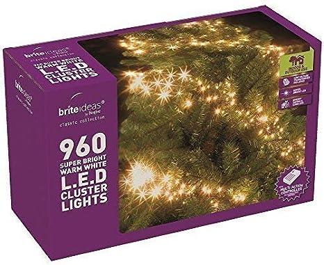 Warm White Multi Action Led Cluster Lights Christmas Tree Xmas Outdoor Indoor 960 Led Amazon Co Uk Kitchen Home