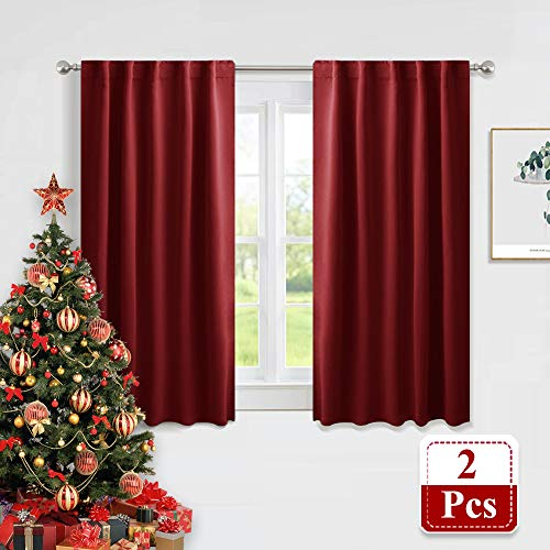 PONY DANCE Blackout Curtain Panels - Red Drapes Christmas Home Decoration Modern Elegant Back Tab Rod Pocket Curtains Room Darkening Energy Saving for Bedroom, 42 x 45 inch, Red, One Pair