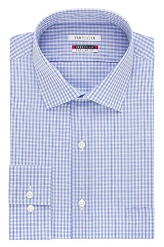 Van Heusen Men's Flex Collar Regular Fit Spread Collar Dress Shirt, Blue, 17.5