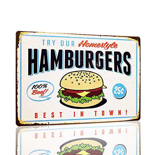 MMOUNT Hamburgers Retro Vintage Bar Signs Tin Sign Best in Town High Grade Quality Metal Shots Menu Funny Home Diner Pub Man Cave Sketch 12 X 8