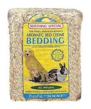 Sun Seed Company SSS18150 4-Pack Aromatic Red Cedar Press Pack Small Animal Bedding, 2500 Cubic Inch