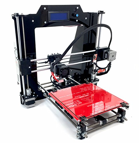 REPRAPGURU DIY RepRap Prusa I3 V2 Black 3D Printer Kit With Molded Plastic Parts USA ()