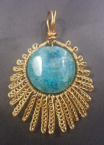 Blue-Green Dragon-Veins Agate and Gold Brass Wire-Woven Wire Wrapped Shooting Star Pendant Necklace with Leather Cord ()