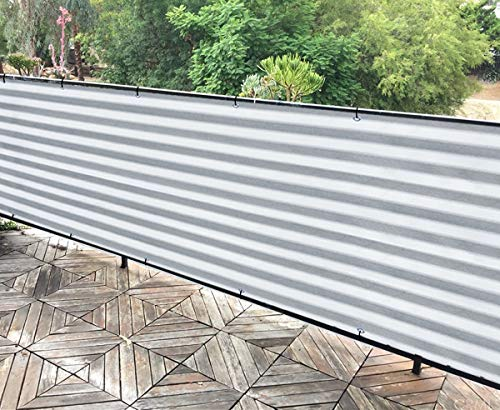 Alion Home Elegant Privacy Screen for Backyard Fence, Pool, Deck, Patio, Balcony, Outdoor Paneling and Outdoor Screening- Include Zip Ties (Grey/White) (2.5 x 39 FT)