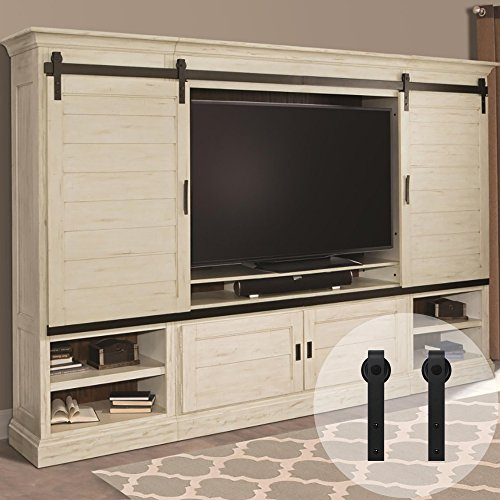 WINSOON 6 ft Mini Barn Door Hardware Kit for Cabinet Double Door Wardrobe and TV Stand, Small J Shape Roller