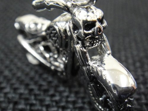 The Biker Metal 316L Stainless Steel Silver Ghost Rider Skull Spirit Pendant w FREE Chain for 81 Outlaw Harley TP-14