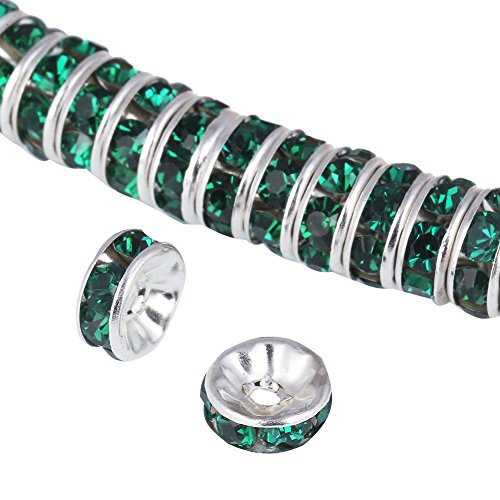 Bingcute 100Pcs Bright Silver 8mm Emerald Green Crystal Rondelle Spacer Beads for jewelery - Green 8 Mm