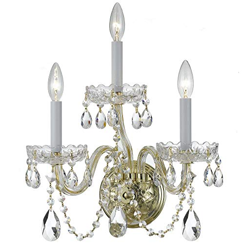 Crystorama 1033-PB-CL-MWP Transitional Three Light Wall Sconce from Traditional Crystal collection in Brass-Polished/Castfinish,