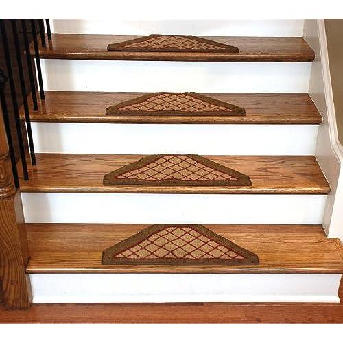 Dean Washable Non Skid Carpet Stair Treads   Beige Checkerboard Hexagon  (Set Of 13)