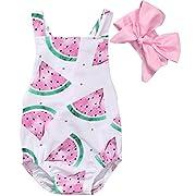GRNSHTS Baby Girls Watermelons Print Backless Ruffle Bodysuit with Headband (70cm/0-6 Month, Pink)