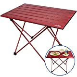 Portable Picnic and Camping Table - Collapsible Accordion Aluminum Frame, Roll Up Aluminum Table Top - Drawstring Carrying Case - Ultra Lightweight - by Outrav