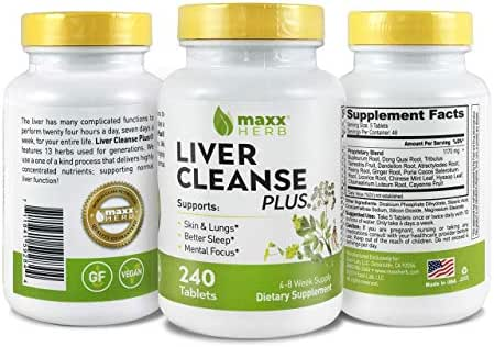 Maxx Herb Liver Cleanse Plus, All Natural 13 Herbs (240 Tablets 4-8 Week Supply) Supports Liver Cleanse, Detox, Better Sleep, Skin and Lungs - with: Dandelion, Cayenne, Ginger, Licorice Root & More