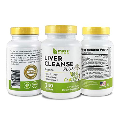 Maxx Herb Liver Cleanse Plus, All Natural Liver Cleanse & Detox Support Supplement, 13 Herb Formula: Dandelion, Cayenne, Ginger & Licorice Root (240 Tablets 4-8 Week Supply)