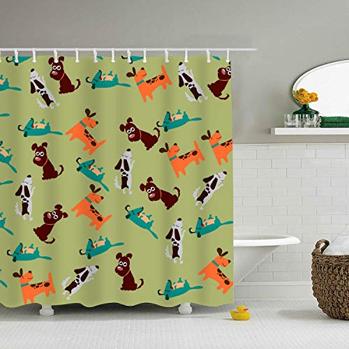Cute Dog Or Puppy Shower Curtain, Waterproof Mildew Resistant Polyester Fabric Bathroom Bath Curtains 59 × 71 inch
