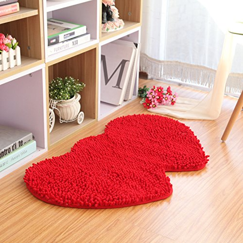 (WISEHOME Bathroom Runner Double Heart Rug Extra Long Chenille Area Rug Blue Bathroom Kitchen Rug Mat Machine-Washable Bath mats Large-Red,31.5x63 inch)