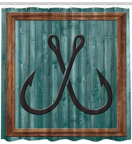 Ambesonne Nautical Shower Curtain Fish by, Fishing Lures Nautical Anchor Modern Abstract Painting Symbol Wooden Frame Rustic Vintage Style Art Printed Accessories Decor Fish Theme, Teal Brown -
