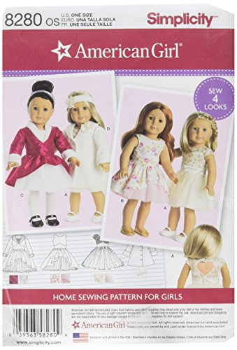 Simplicity 8280 American Girl Doll Dress Sewing Patterns for 18'' Dolls