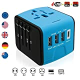 Brightsharp Universal Travel Plug Adapter with 3 USB 2.4A Ports, 1 Type C Port and 1 Universal AC Socket, Worldwide Wall Charger Power Socket Adapter for Europe, UK, US, AU, Asia-Black (Blue-black)
