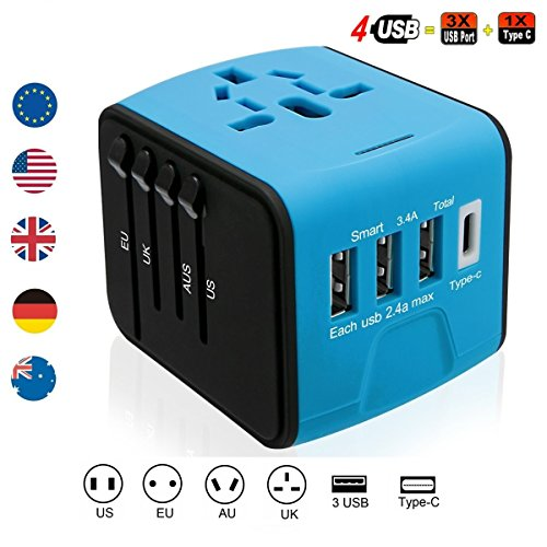 Brightsharp Universal Travel Plug Adapter with 3 USB 2.4A Ports, 1 Type C Port and 1 Universal AC Socket, Worldwide Wall Charger Power Socket Adapter for Europe, UK, US, AU, Asia-Black (Blue-black) by Brightsharp