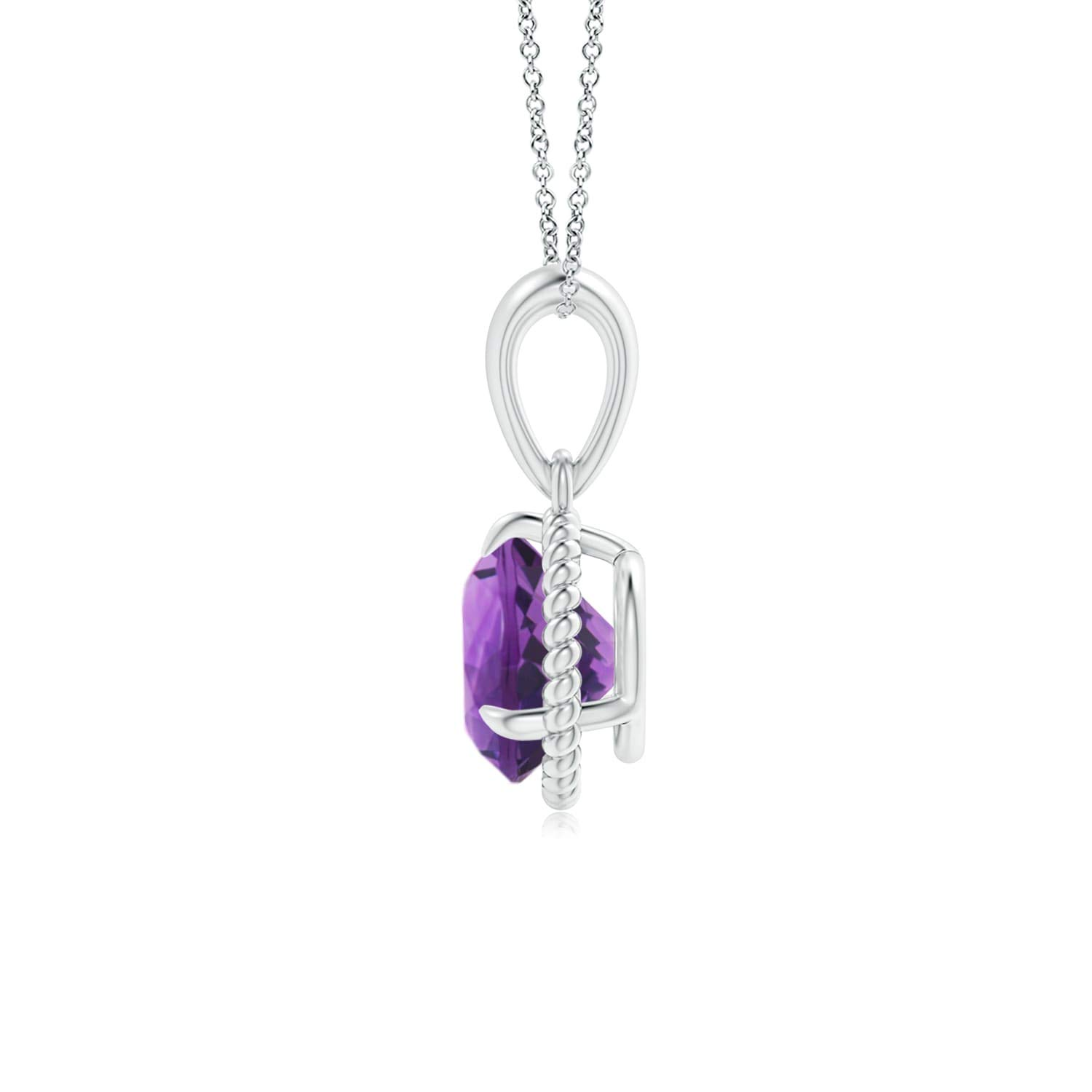 7mm Amethyst Rope-Framed Claw-Set Amethyst Solitaire Pendant