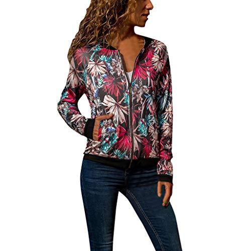 Women Retro Floral Zipper Bomber Jacket Long Sleeve Casual Chic Coat Streetwear (X-Large, Multicolor)