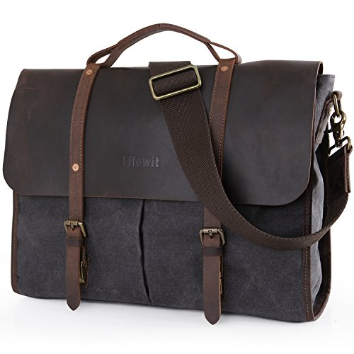 Lifewit 15.6 Inch Laptop Bag Vintage Leather Messenger Bags Water-resistant Canvas Briefcase, Grey(2017 New)