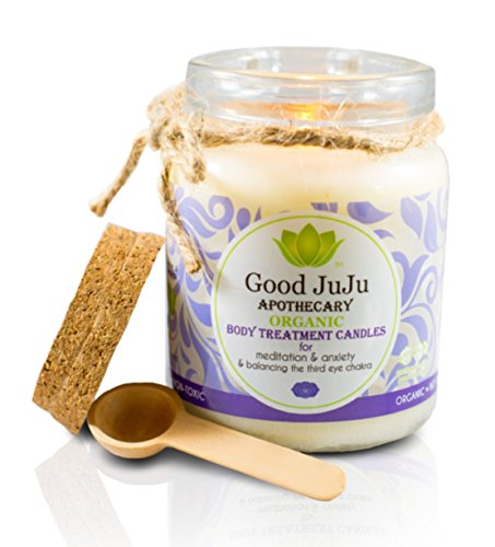 Good JuJu Apothecary 7 oz. Organic Therapeutic Massage Candle for Meditation, Anxiety & Third Eye Cleansing by Good JuJu Apothecary