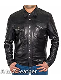 Mens Black Leather Smart Fitted Denim Shirt Style Stud Button Trucker jacket