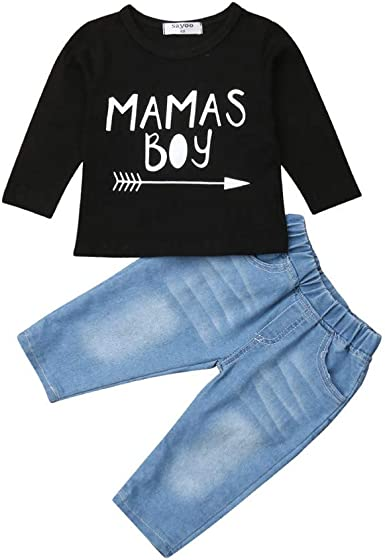 2PCS Toddler Kids Baby Boy Long Sleeve T-shirt Tops+Pants Casual Outfits Clothes