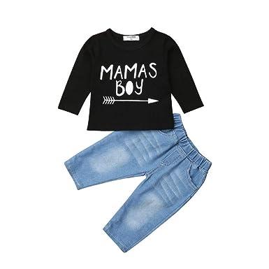 a84c40630033 Amazon.com  Newborn Toddler Baby Boy Fall Outfit Set Kid Long Sleeve ...