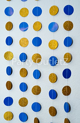 5 Piece Circular Dot Garlands (each 6.5 feet): Birthday/Baby Shower/Bridal Shower Party Decorations - Royal Blue and Gold