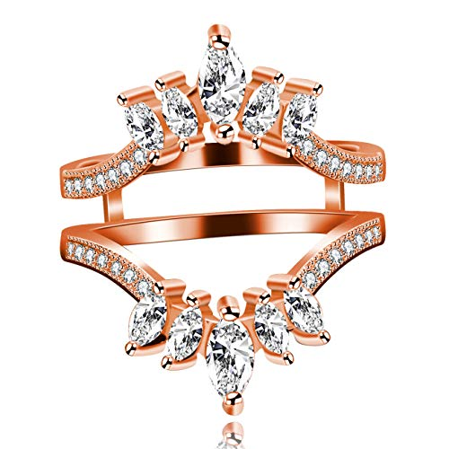 - Uloveido Marquise Cut Cubic Zirconia Engagement Ring Guard Enhancer with Millgrained Edges and Filigree Cut Out Design Y445 (Rose Gold, Size 5)