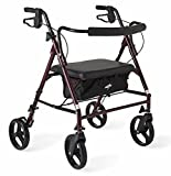 Medline Heavy Duty Rollator Walker with Seat, Bariatric Rolling Walker Supports up to