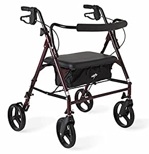 "Medline Heavy Duty Bariatric Mobility Rollator with 8"" Deluxe Wheels, 500 lbs Capacity"