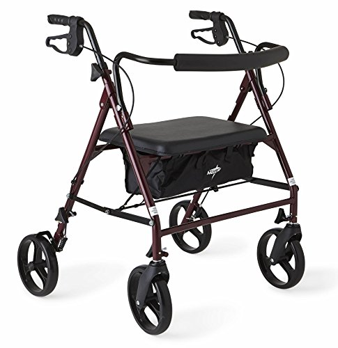 Medline Heavy Duty Rollator Walker with Seat, Bariatric Rolling Walker Supports up to 500 lbs, Large 8-inch Wheels, Burgundy (Bariatric Rollator)