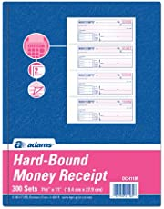 Adams Hardbound Receipt Book, 7.63 x 11 Inches, 2-Part, Carbonless, White/Canary, 4 Form Sets per Page, 300 Sets per Book (DCH1185)